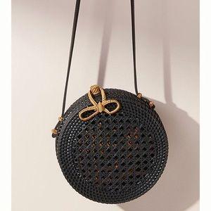 Anthropologie Black Rattan Circle Bag Purse
